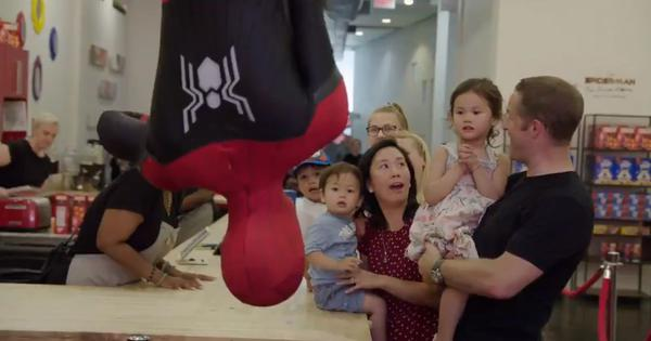 Watch: 'Spiderman' visited this New York City store, and the children couldn't believe their luck