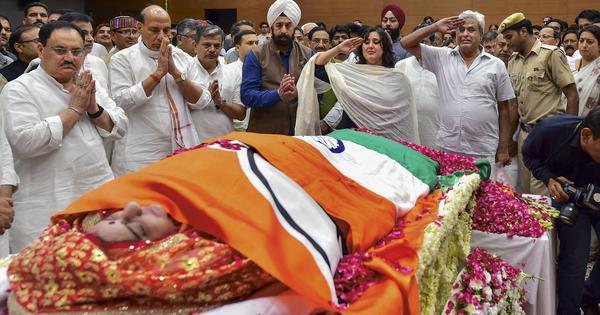 Sushma Swaraj cremated with state honours in Delhi