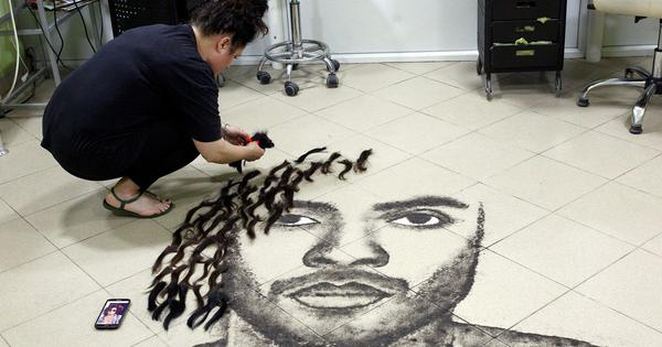 Watch: This hairstylist creates portraits of famous people – using her clients' hair