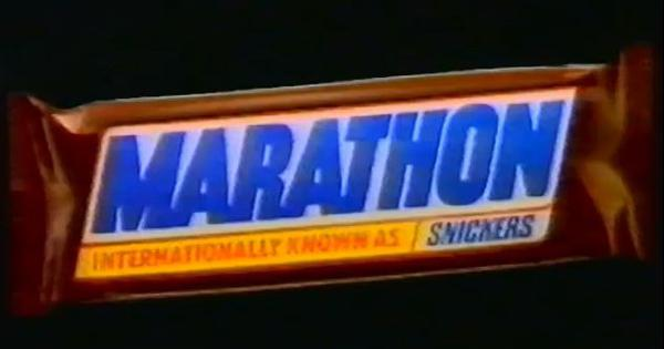 Watch this advertisement for the Marathon chocolate bar, the old name for Snickers in the UK