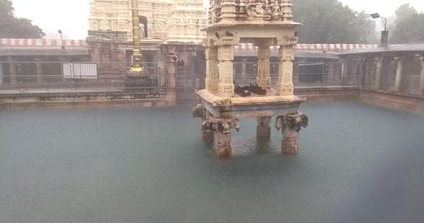 Watch: Frightening sight of floodwater gushing into the Mahanadi Temple in Andhra Pradesh's Kurnool