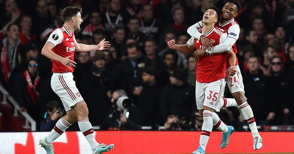 Europa League: Martinelli brace as Arsenal rout Standard Liege 4-0; Man United held to goalless draw