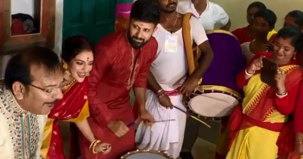 Watch: TMC MP Nusrat Jahan plays the dhaak at Durga Puja celebrations