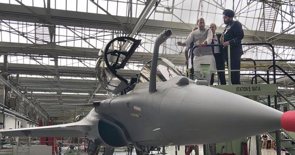 Rafale: France hands over first fighter jet, Rajnath Singh says it's a 'historic day' for India