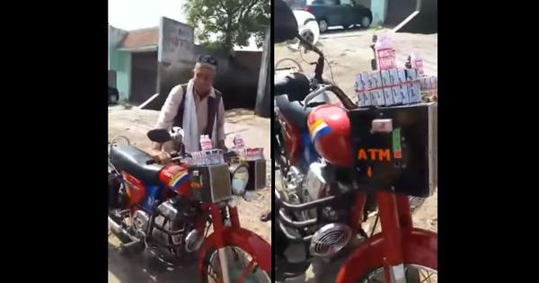 Watch: A 70-year-old in Bareilly has devised a motorcycle-mounted, voice-activated coin-dispenser