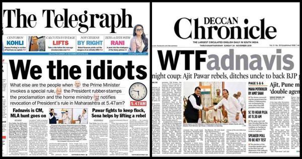 Maharashtra's early morning drama spawns  inspired newspaper headlines