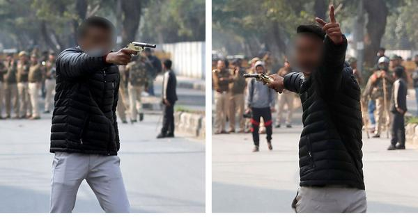 In pictures: How a man fired from a pistol outside Jamia Millia University in Delhi