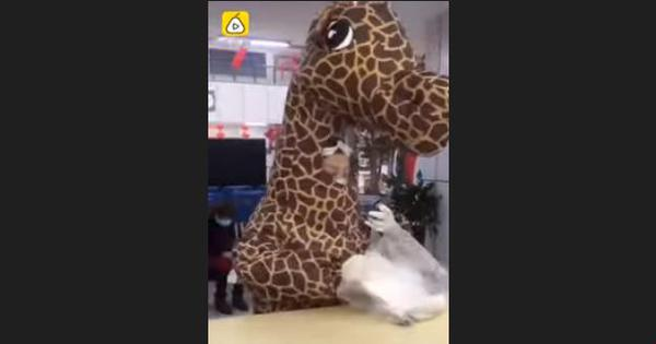 Coronavirus scare: Unable to buy a mask, woman visits hospital in China in a giraffe costume