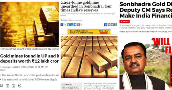 How much of the Indian media misreported that 3,350 tonnes of gold had been found in a UP mine