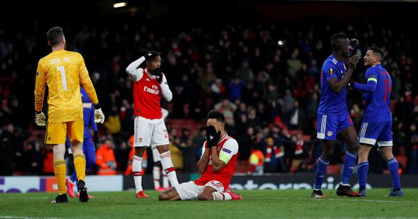 Europa League wrap: Arsenal knocked out by Olympiakos; Manchester United, Inter Milan reach last 16