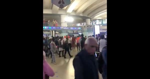 Watch: 'Goli maaro saalon ko' cries from group of people in Delhi's Rajiv Chowk metro station