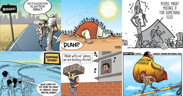 Coronavirus: How India's cartoonists have depicted the migrant workers' exodus