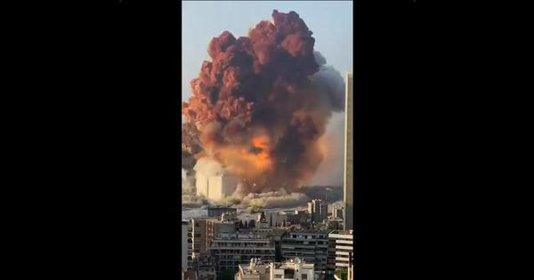 Watch: The actual moment when a massive explosion rocked Lebanon's capital city Beirut