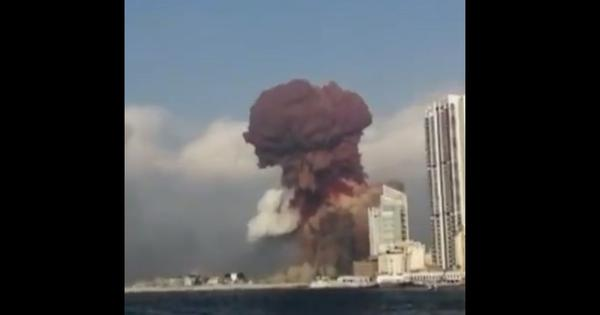 Watch: This view of the devastating Beirut explosion taken from a boat
