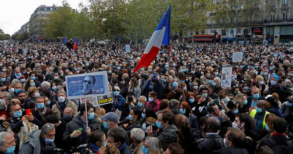 France: Tens of thousands protest beheading of teacher for showing cartoons of Prophet Muhammad