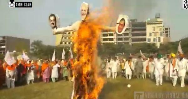 Watch: On Dussehra, Modi effigies burnt in Punjab to register protest against farm laws