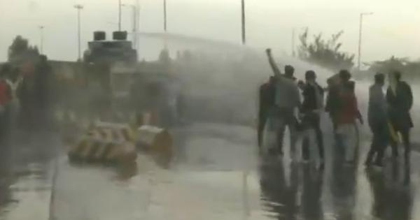 Watch: Police use water cannons, tear gas near Ambala to stop protesting farmers