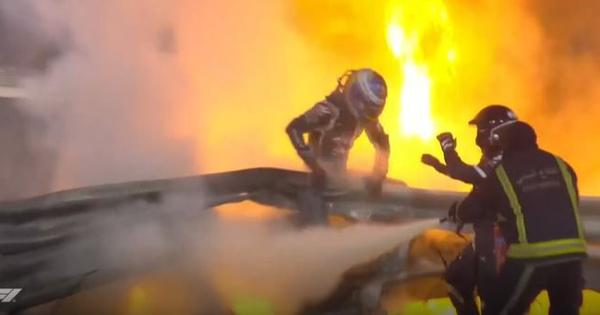 Video: Romain Grosjean escapes from burning car after horrific crash on first lap of Bahrain GP