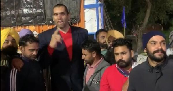 Watch: Popular wrestler The Great Khali joins the farmers' protest at Delhi borders