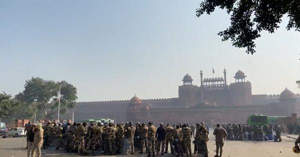 Watch: Massive deployment of forces outside the Red Fort in Delhi a day after tractor rally violence
