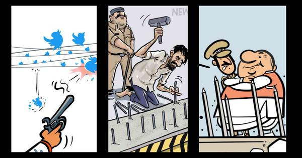 '56 inches of barricading': India's cartoonists react to police attempts to block protesting farmers