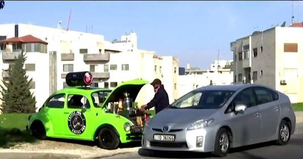 Watch: Jordan resident turns his car into coffee-shop-on-wheels