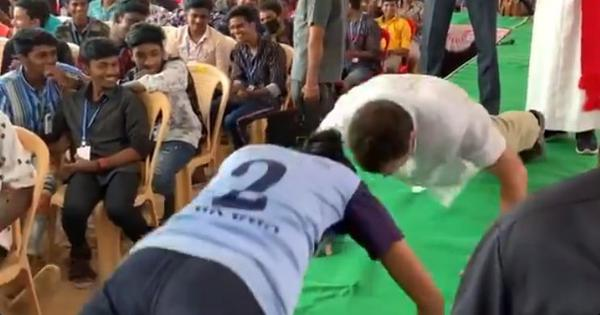 Watch: On Tamil Nadu visit, Rahul Gandhi takes on class 10 student in a push-up challenge