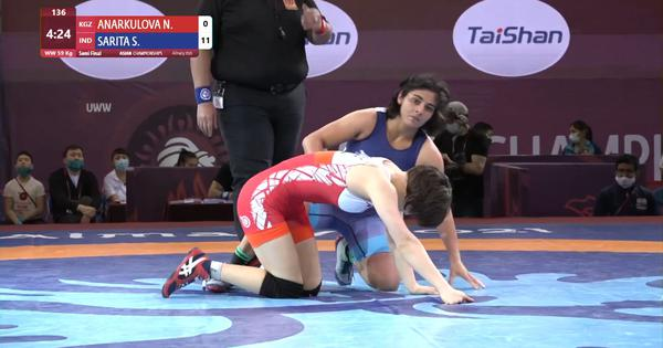 Asian Wrestling C'ship: Defending champ Sarita Mor reaches final; Seema, Pooja to fight for bronze