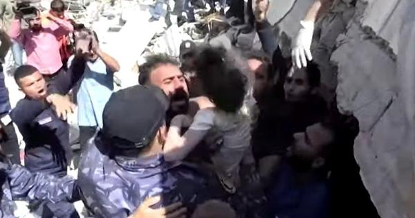 Watch: Six-year-old Palestinian girl saved from rubble of home destroyed by Israeli air strike