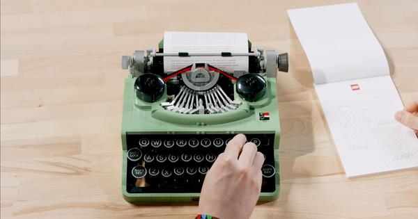 Spot the difference: Can you tell this Lego typewriter apart from an actual one?
