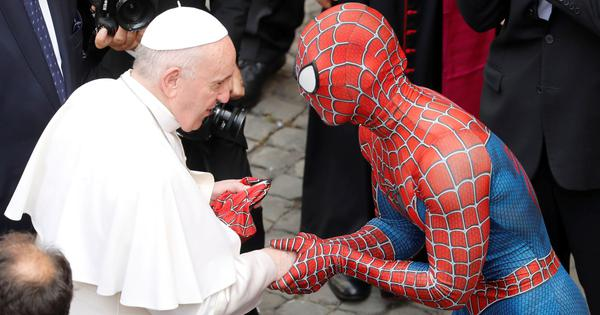 Watch: Pope Francis meets 'Spider-Man' after his weekly audience at the Vatican