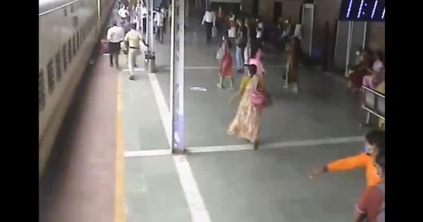 Watch: RPF official saves elderly man as he slips off a moving train in Mumbai