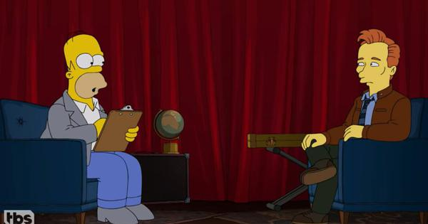 Watch: Cartoon character Homer Simpson conducts Conan O'Brien's TBS 'exit interview'
