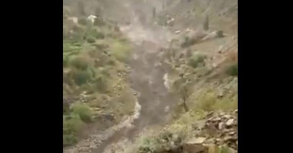 Watch: Cloudburst causes flash flood in Lahaul district of Himachal Pradesh
