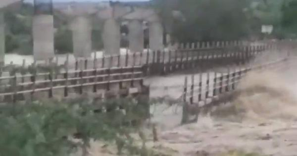 Caught on camera: The moment a bridge in Madhya Pradesh was swept away by river currents