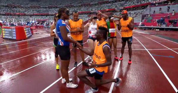 Caught on camera: Tokyo Paralympics athlete accepts marriage proposal from guide after her race