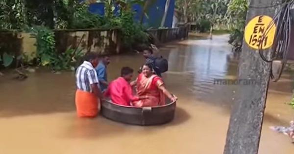 Watch: Kerala couple 'floats' to wedding venue in large cooking pot