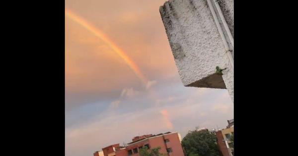 Watch: Massive rainbow surprises Delhi-NCR residents on a rainy October day