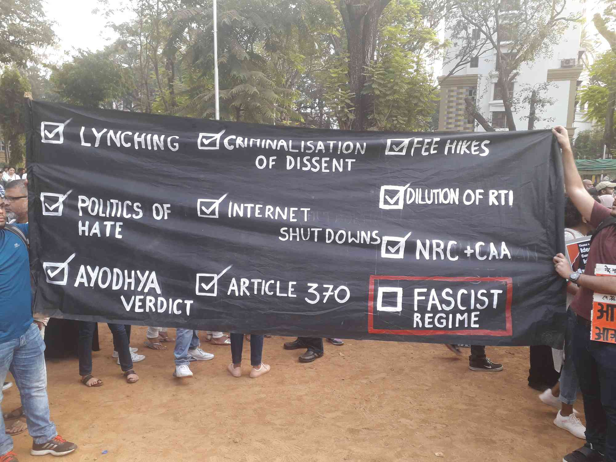 A banner at the protest against the Citizenship Amendment Act in Mumbai on Thursday. — Photo by writer