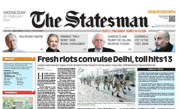The Statesman front page.