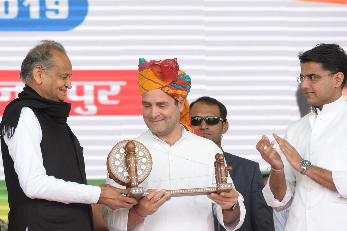 Congress president Rahul Gandhi with Rajasthan Chief Minister Ashok Gehlot and his deputy Sachin Pilot at a public meeting in Jaipur. Photo credit: Twitter/Congress