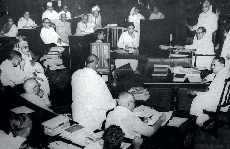 Constituent Assembly of India meeting in 1950. BR Ambedkar can be seen seated top-right. Image credit: Wikimedia Commons