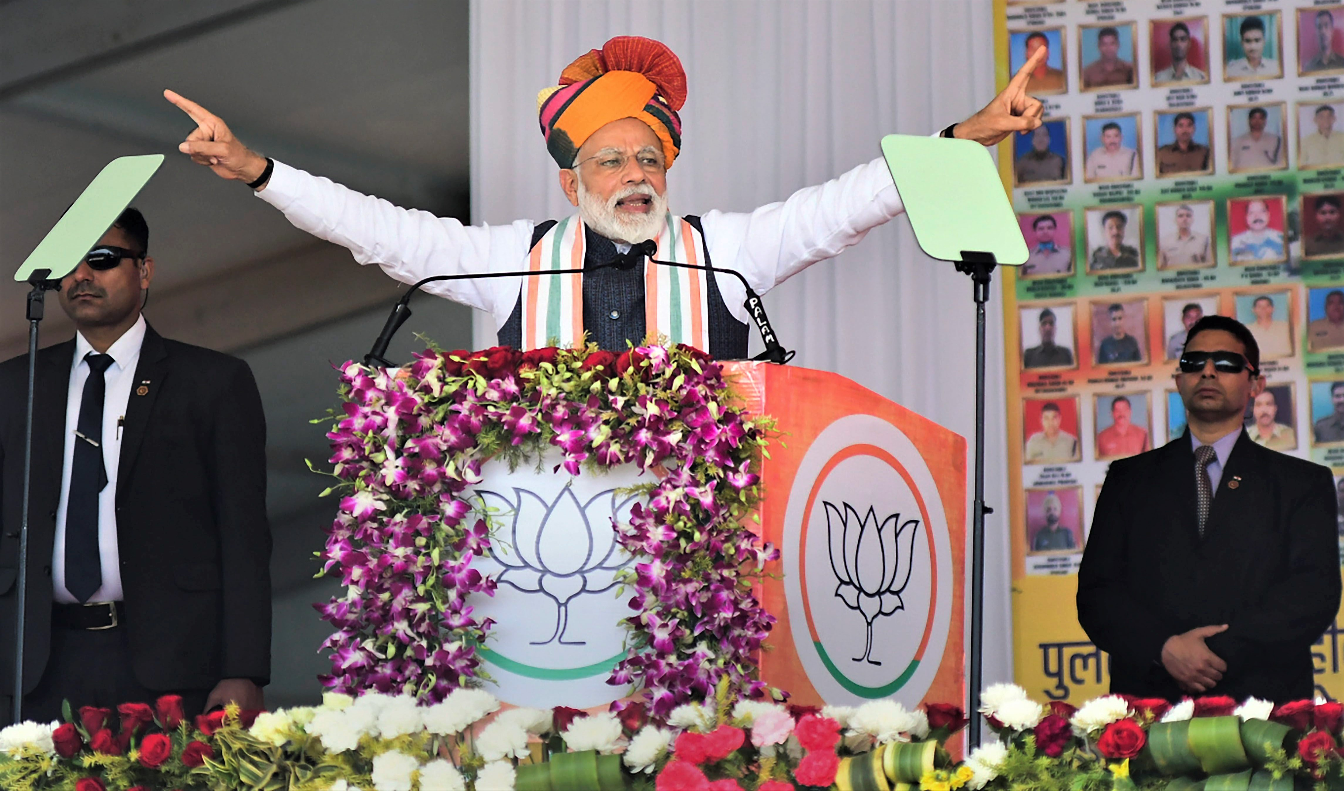 Prime Minister Narendra Modi addresses a public rally in Rajasthan on February 26. | PTI