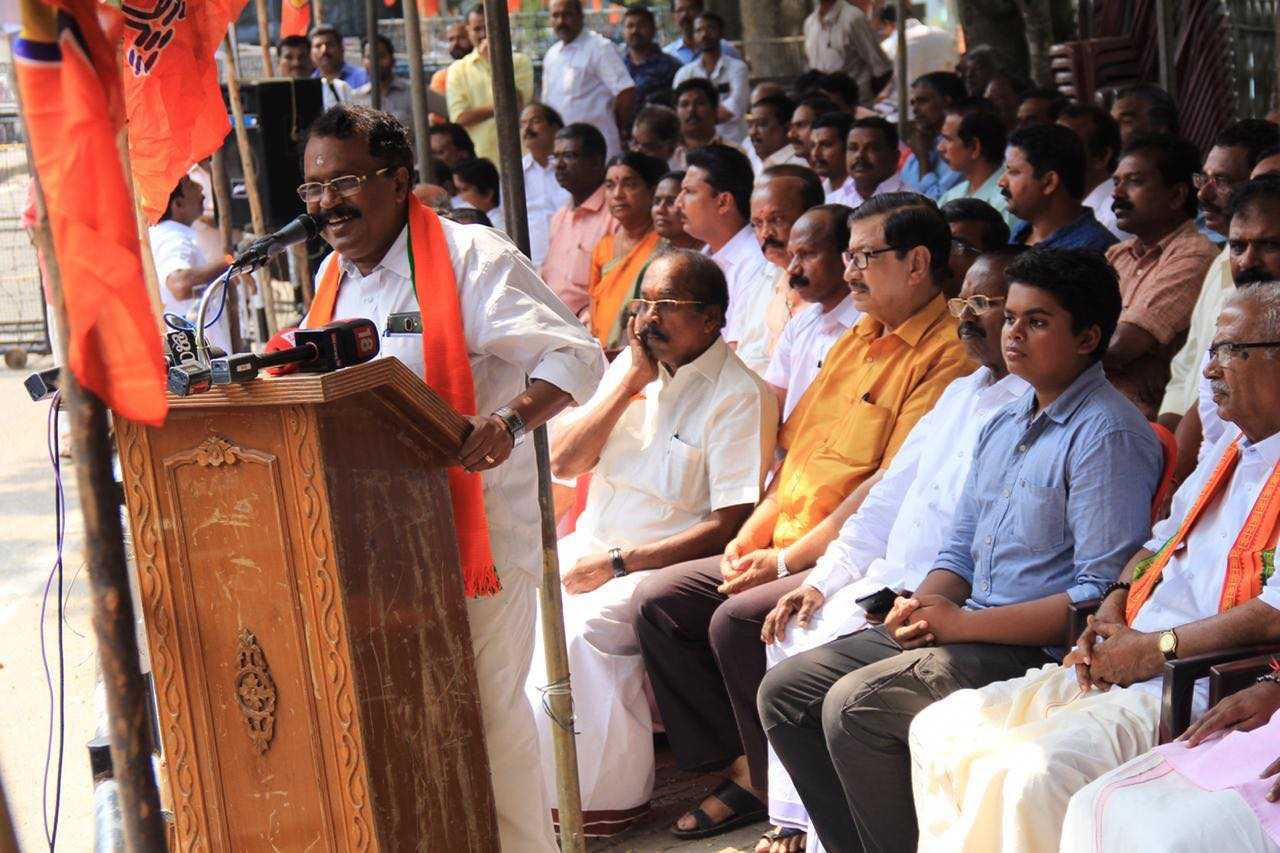 PS Sreedharan Pillai addressing BJP workers in Thiruvananthapuram. Photo credit: Facebook/BJP