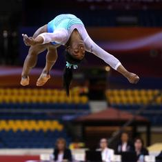 Biles becomes first woman gymnast to win four individual all-around world titles despite errors
