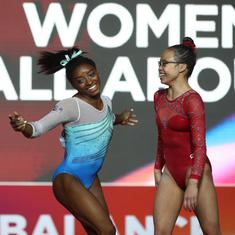 Simone Biles becomes first gymnast to claim record 13 world championship golds