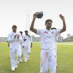 Bangladesh need record chase in first Test against Zimbabwe after Taijul's 11-wicket haul