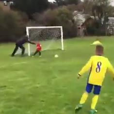 Watch: 'Father of the year' pushes son off his feet to stop a goal