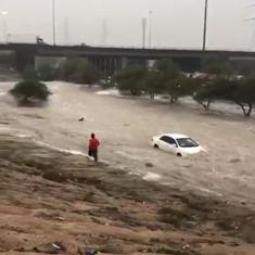 Watch: Unusual sights of heavy rains and floods causing havoc in Kuwait