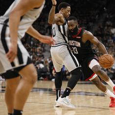 NBA: Harden and Paul combine to hand Houston Rockets 136-105 win over San Antonio Spurs